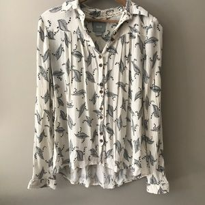 Maeve | Anthropologie | Crepe Blouse Graphic
